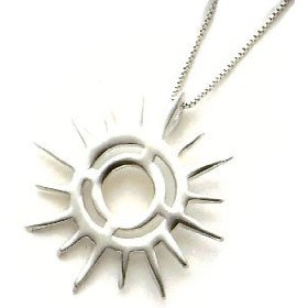 Sun pendant that Nicole receives at the end of the book. (But the one in the book has a solid back with an engraving.)