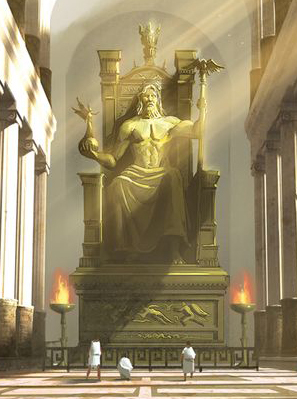The statue of Zeus at Olympia. This is an imagination of what it would look like, since it doesn't exist anymore. In Elementals, they visit a replica.